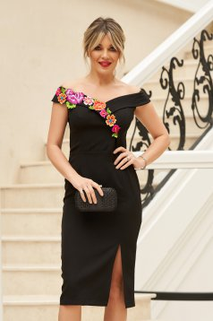 StarShinerS black elegant midi dress with tented cut off shoulder manual sewed embroidery