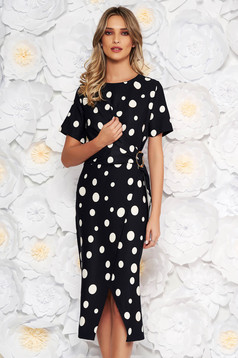 Darkblue office midi pencil dress flexible thin fabric/cloth with dots print with metalic accessory