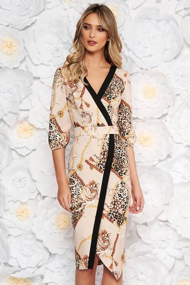 LaDonna cream elegant midi pencil dress with v-neckline slightly elastic fabric with graphic print