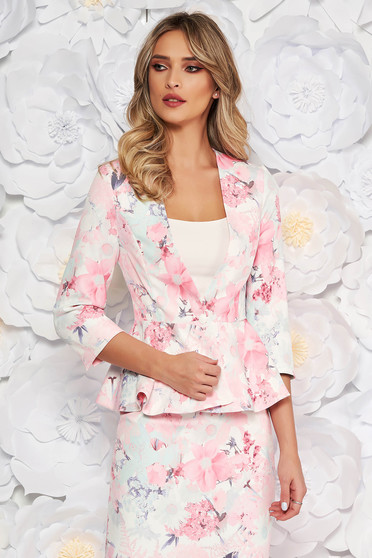 StarShinerS rosa elegant tented jacket with 3/4 sleeves with frilled waist slightly elastic fabric