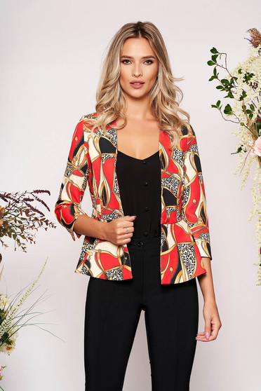 StarShinerS red elegant tented jacket with 3/4 sleeves with frilled waist slightly elastic fabric