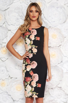 StarShinerS black elegant sleeveless pencil dress slightly elastic fabric with floral prints