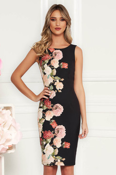 StarShinerS black elegant sleeveless pencil dress slightly elastic fabric with floral prints