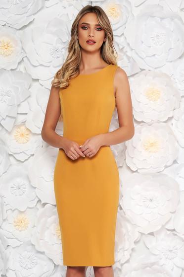 StarShinerS mustard elegant pencil dress slightly elastic fabric