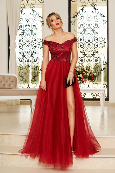 StarShinerS burgundy occasional long cloche dress off shoulder