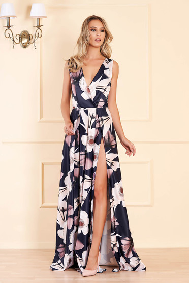 Artista darkblue occasional cloche dress with deep cleavage from satin fabric texture with floral print