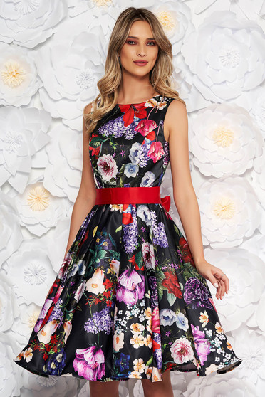 Black occasional cloche dress from satin with floral print accessorized with tied waistband