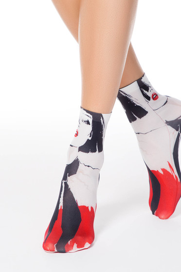 Black socks soft fabric with print details