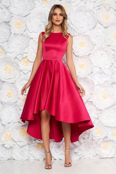 Fuchsia occasional asymmetrical cloche dress from satin fabric texture sleeveless