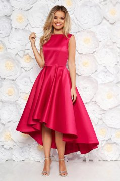 Fuchsia occasional asymmetrical cloche dress from satin fabric texture sleeveless