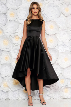 Black occasional asymmetrical cloche dress from satin fabric texture sleeveless elegant