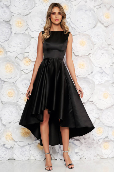 Black occasional asymmetrical cloche dress from satin fabric texture sleeveless