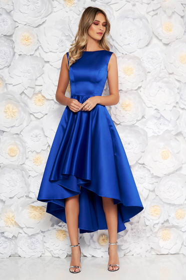 Blue occasional asymmetrical cloche dress from satin fabric texture sleeveless