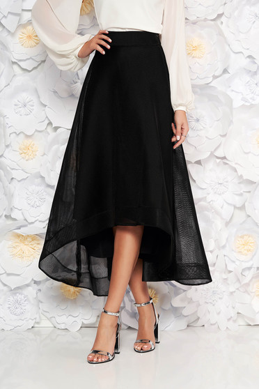 Black occasional asymmetrical cloche skirt high waisted