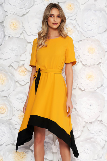 Mustard asymmetrical cloche dress short sleeve with elastic waist accessorized with tied waistband