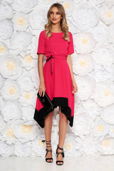 Pink asymmetrical cloche dress short sleeve with elastic waist accessorized with tied waistband