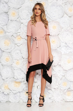 Rosa asymmetrical cloche dress short sleeve with elastic waist accessorized with tied waistband