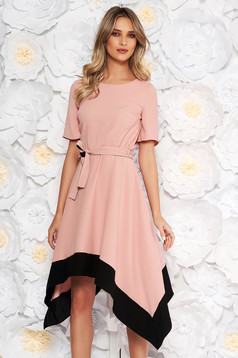 Rosa asymmetrical cloche dress short sleeve with elastic waist accessorized with tied waistband