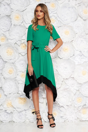 Green asymmetrical cloche dress short sleeve with elastic waist accessorized with tied waistband