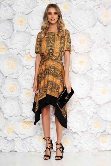 Mustard asymmetrical cloche dress with elastic waist short sleeves accessorized with tied waistband