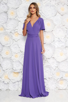 Purple long occasional cloche dress with a cleavage short sleeve