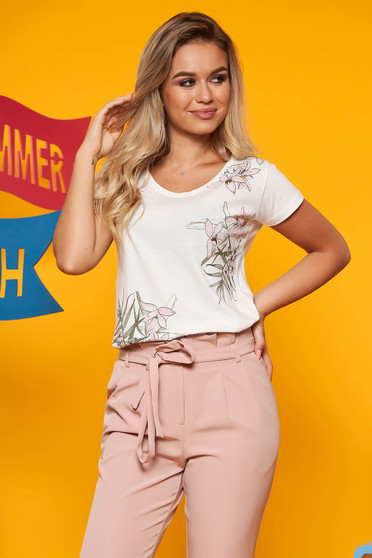 White casual t-shirt cotton flared with floral print