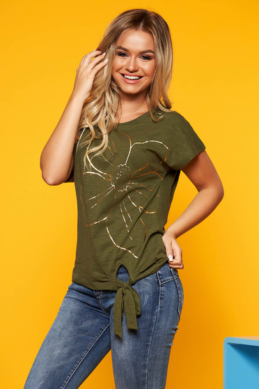 Top Secret green casual t-shirt nonelastic cotton flared