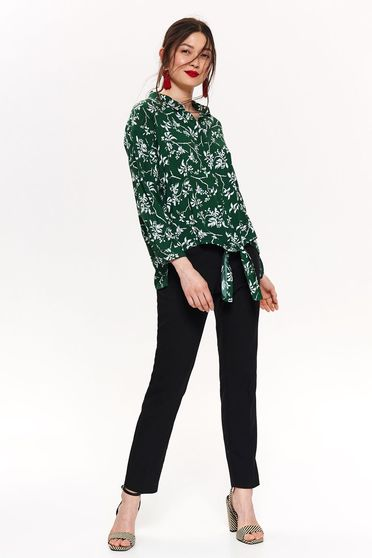 Top Secret white with easy cut women`s shirt long sleeve with floral print thin fabric