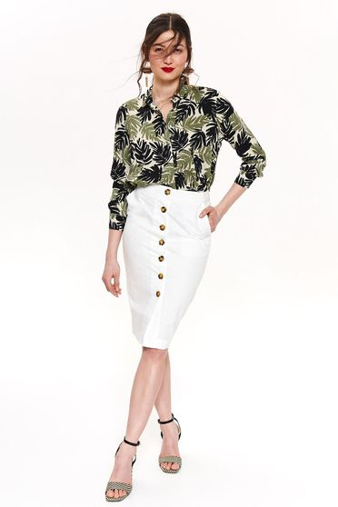 Top Secret white casual pencil skirt nonelastic cotton with tented cut high waisted