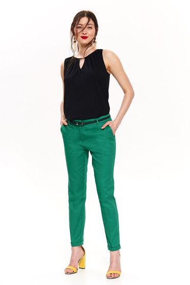 Top Secret green office conical trousers with medium waist with pockets accessorized with belt