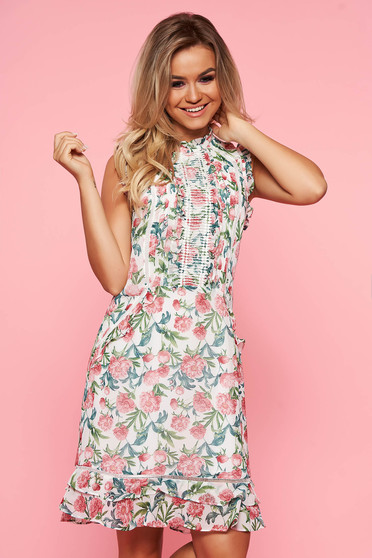 Top Secret white a-line dress voile fabric with floral prints with ruffle details