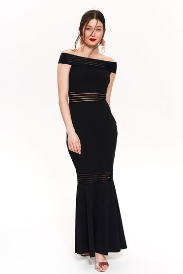 Top Secret black occasional long mermaid dress off shoulder