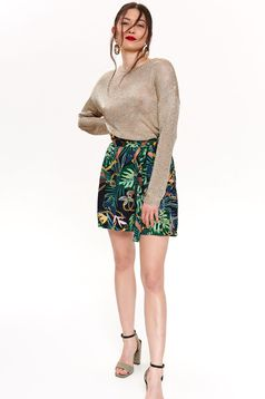 Black short accessorized with tied waistband casual with floral print