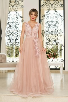 StarShinerS rosa occasional cloche dress from tulle with deep cleavage with push-up cups with floral details with 3d effect