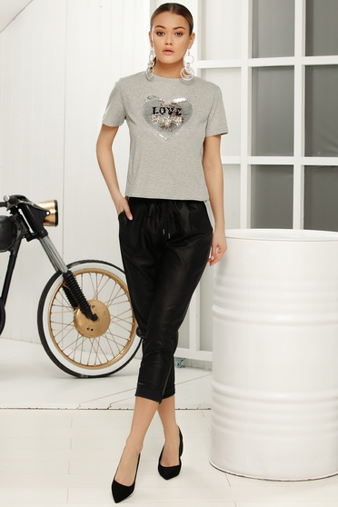 Grey casual short sleeves flared t-shirt