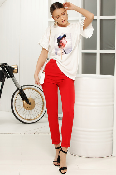 Red trousers elegant with medium waist with tented cut