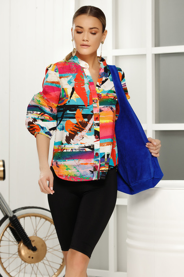 Coral flared women`s shirt 3/4 sleeve