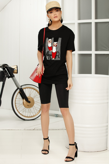 Black casual flared t-shirt short sleeves thin fabric