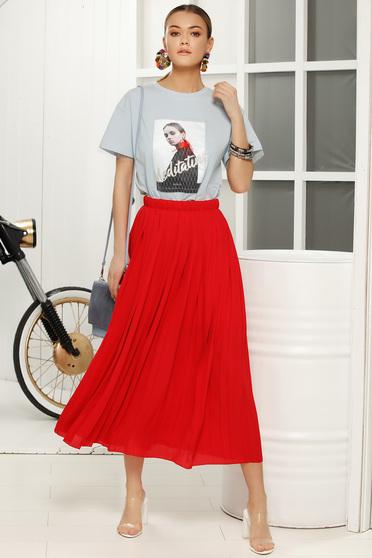 Lightblue casual flared t-shirt short sleeve soft fabric