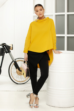 Yellow casual women`s blouse with easy cut asymmetrical long sleeve
