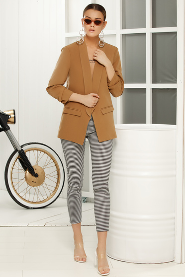 Brown elegant blazer jacket 3/4 sleeve with straight cut