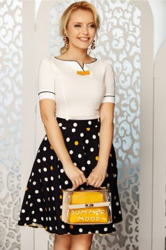 Fofy mustard elegant cloche skirt high waisted soft fabric with dots print