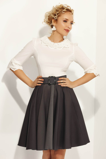 Fofy darkgrey elegant high waisted cloche skirt from non elastic fabric accessorized with belt