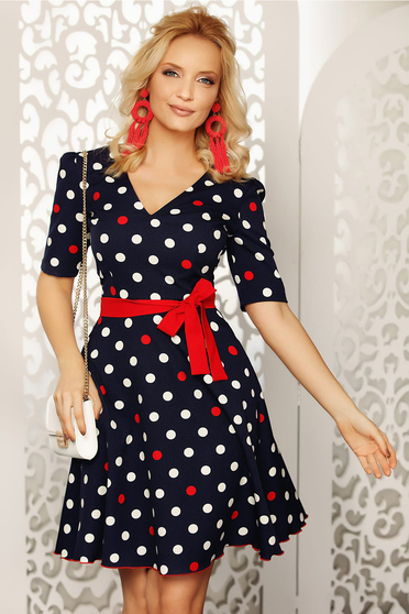 Fofy red elegant daily cloche dress soft fabric dots print accessorized with belt
