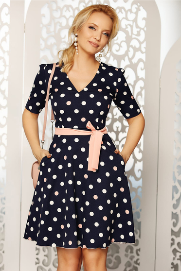Fofy rosa elegant daily cloche dress soft fabric dots print accessorized with belt