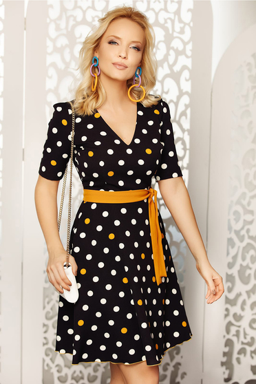 Fofy mustard elegant daily cloche dress soft fabric dots print accessorized with belt