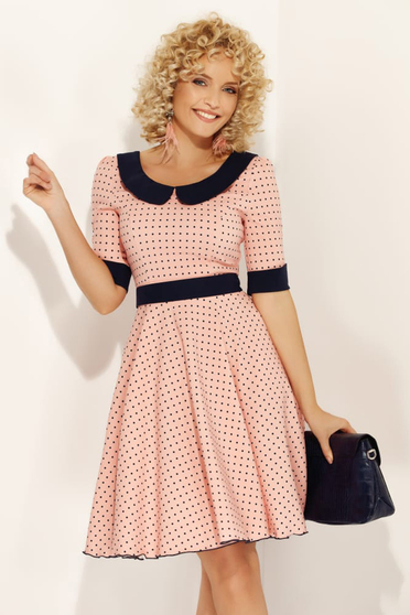 Fofy rosa elegant daily dress flaring cut with round collar accessorized with tied waistband