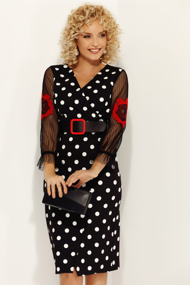 Fofy red elegant daily dress with tented cut with v-neckline soft fabric dots print