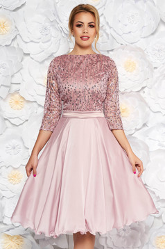 Rosa occasional cloche dress transparent sleeves from laced fabric with sequin embellished details