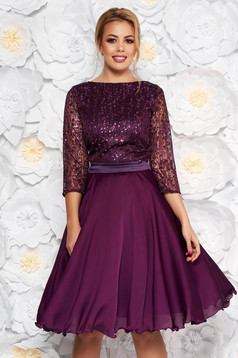 Purple occasional cloche dress transparent sleeves from laced fabric with sequin embellished details